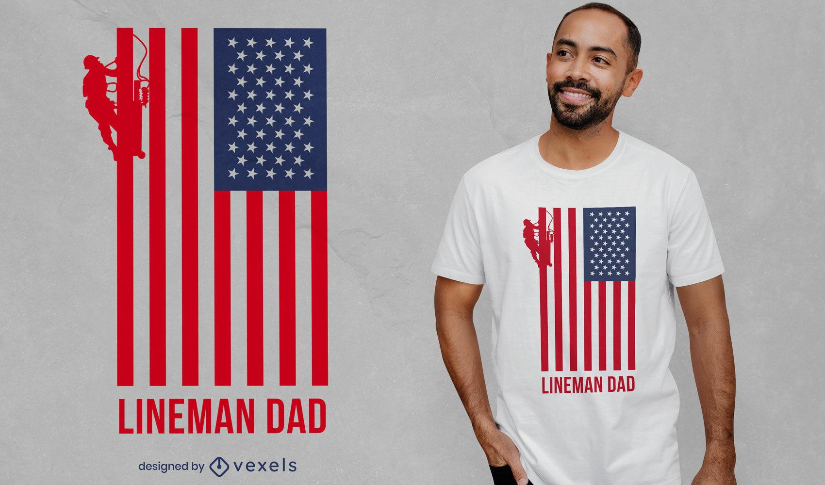 Lineman dad american flag t-shirt design