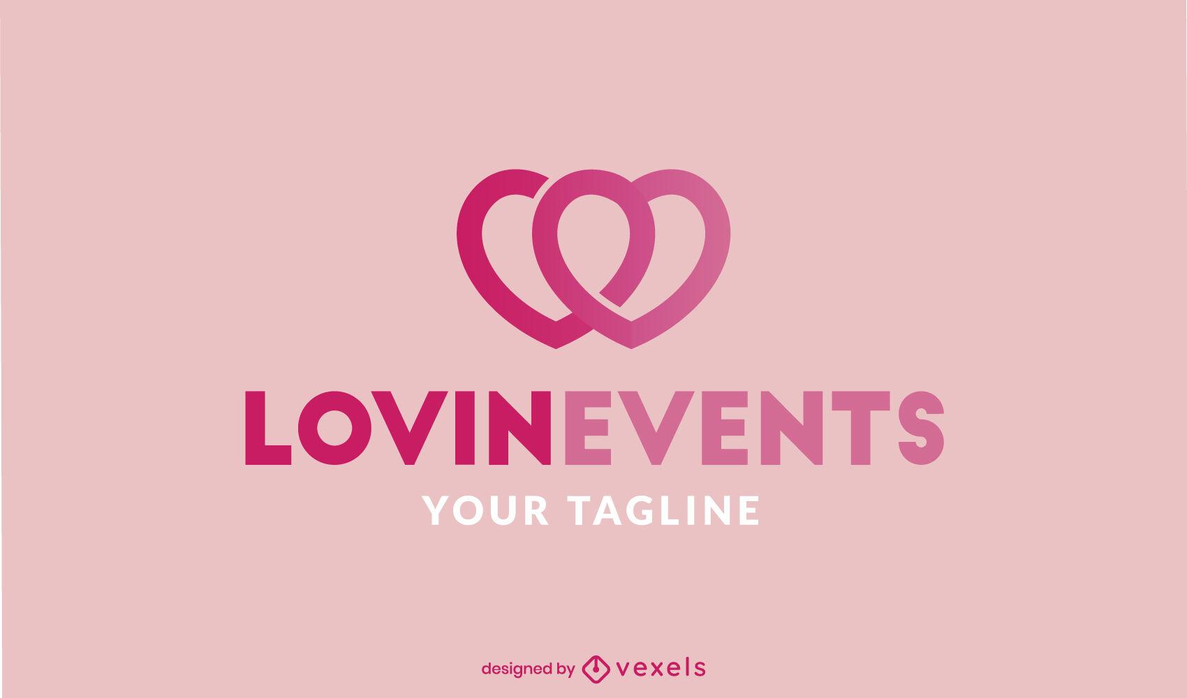 Double hearts love stroke logo template