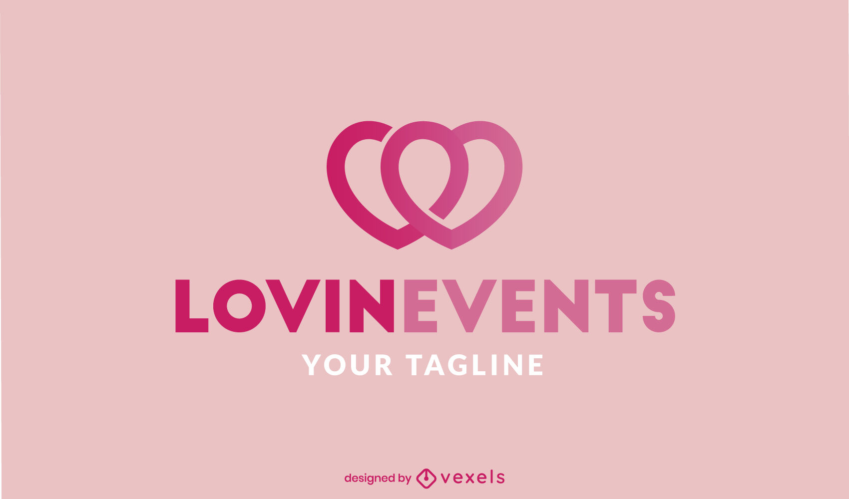 Modelo de logotipo de traço de amor com dois corações