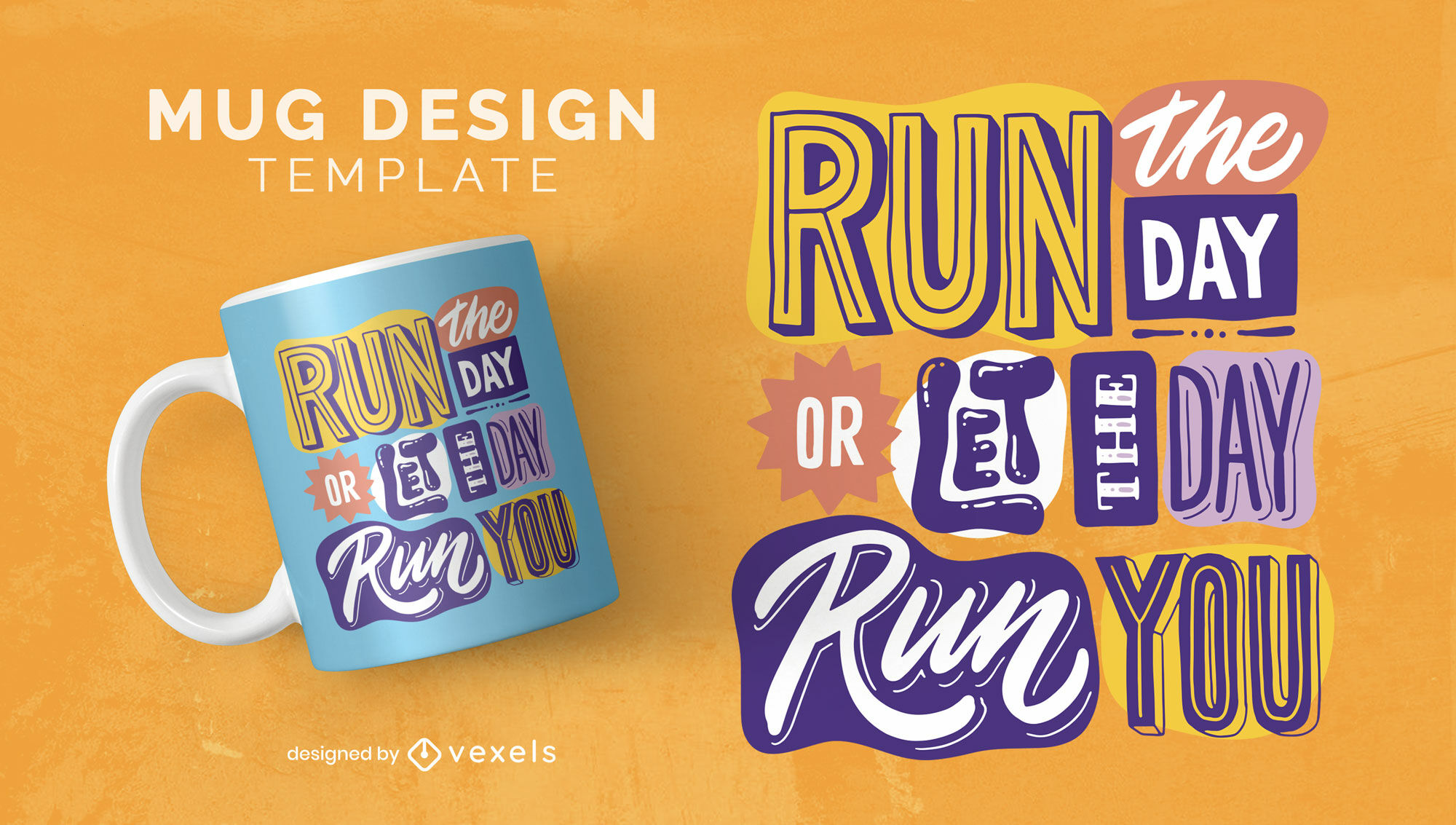 Motivational quote collage mug template