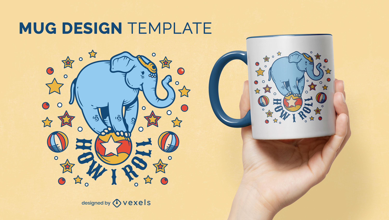 Desenho de caneca de elefante de circo feliz