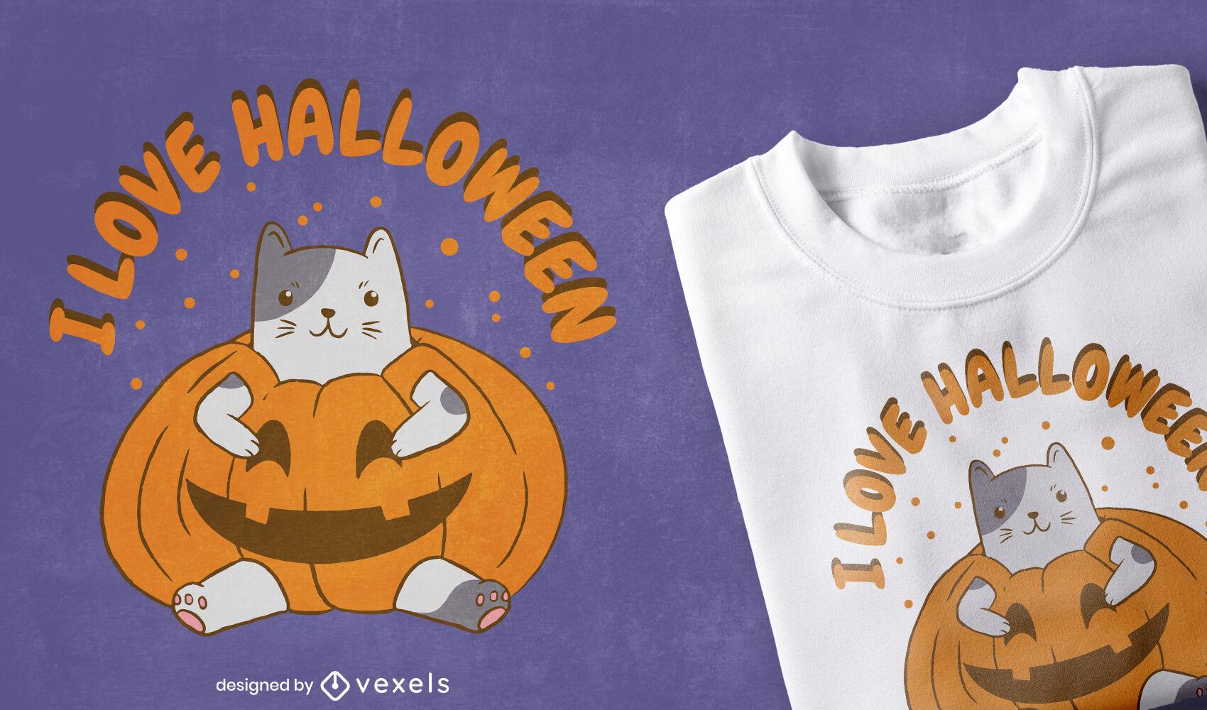 Gato en diseño de camiseta de calabaza de halloween