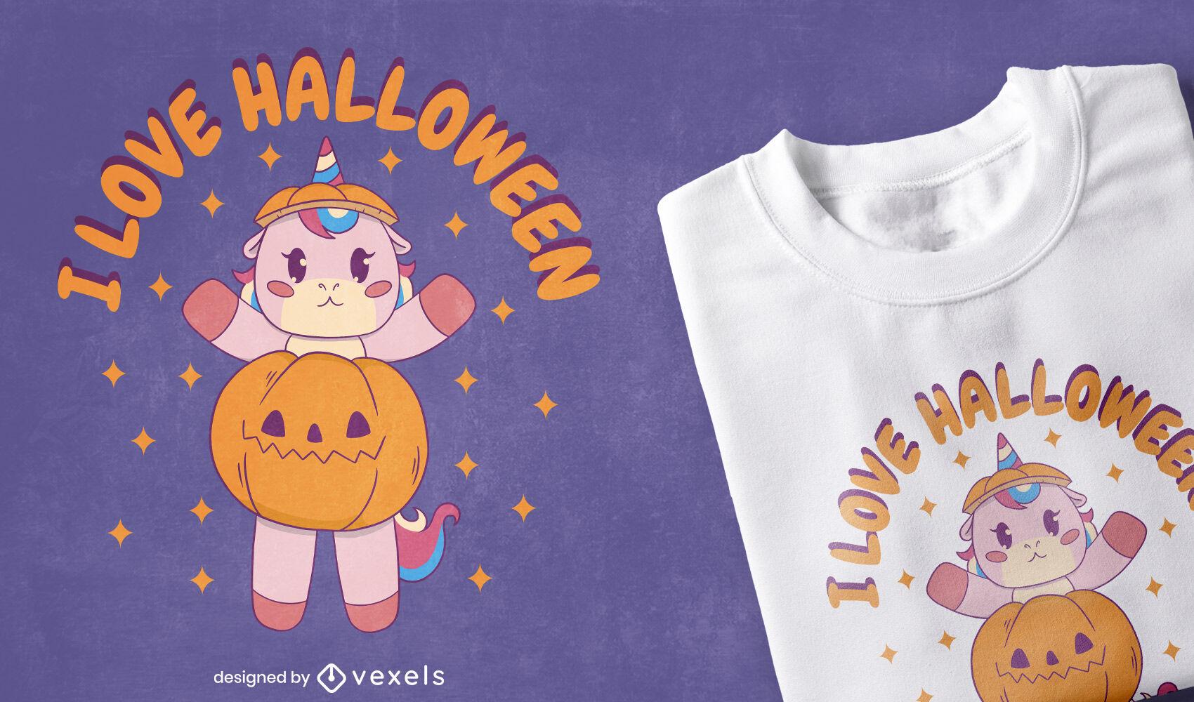 Unicórnio com design de t-shirt de abóbora de halloween