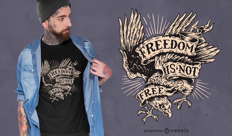 Design de t-shirt de liberdade animal águia voadora