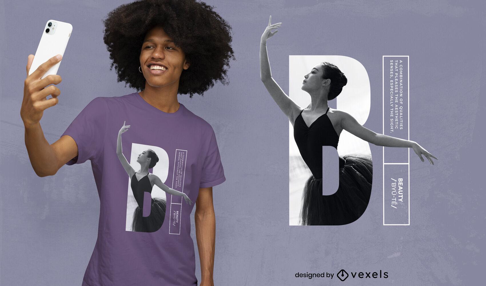 Design de t-shirt psd de Ballet girl