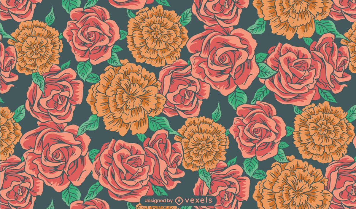 Projeto do padrão da natureza da flor do jardim de rosas