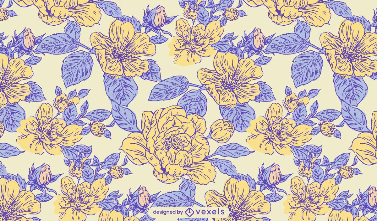 Projeto de padrão de natureza de jardim de flores