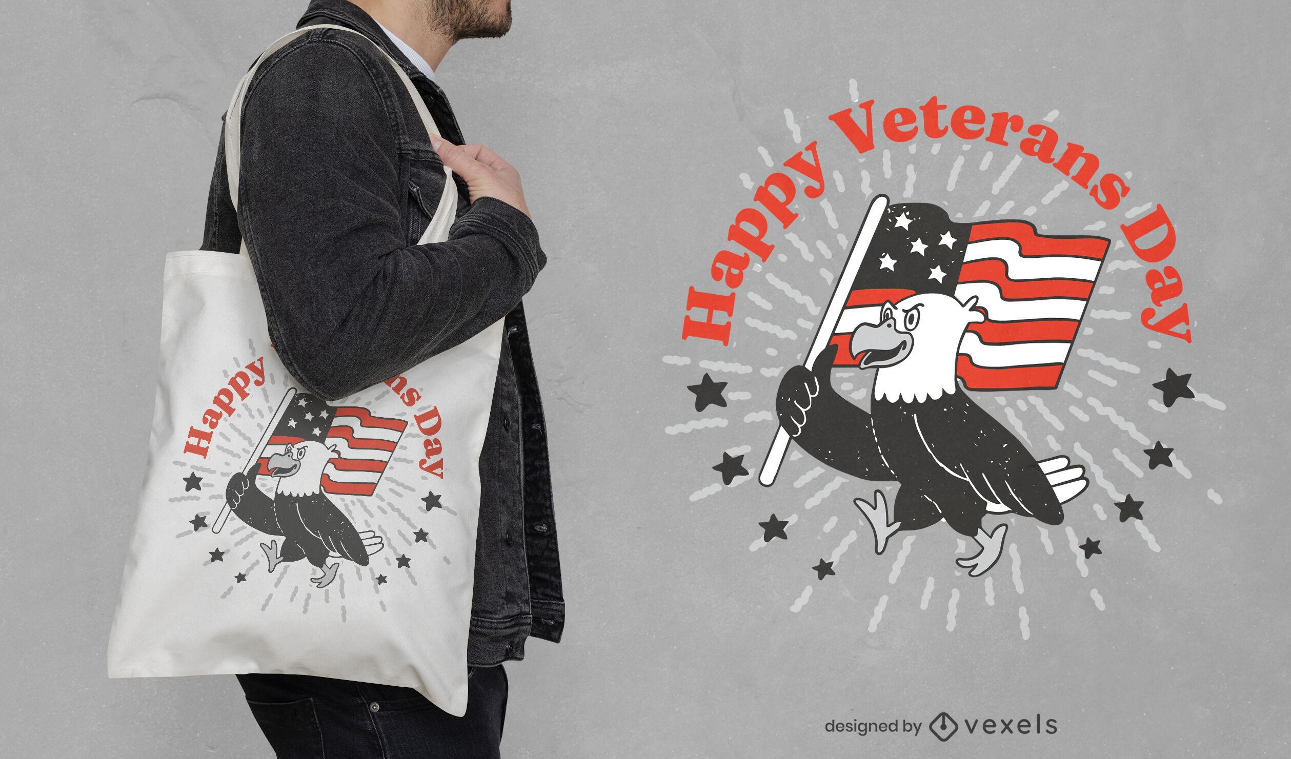 Águila con diseño de bolsa de asas del día de los veteranos de la bandera