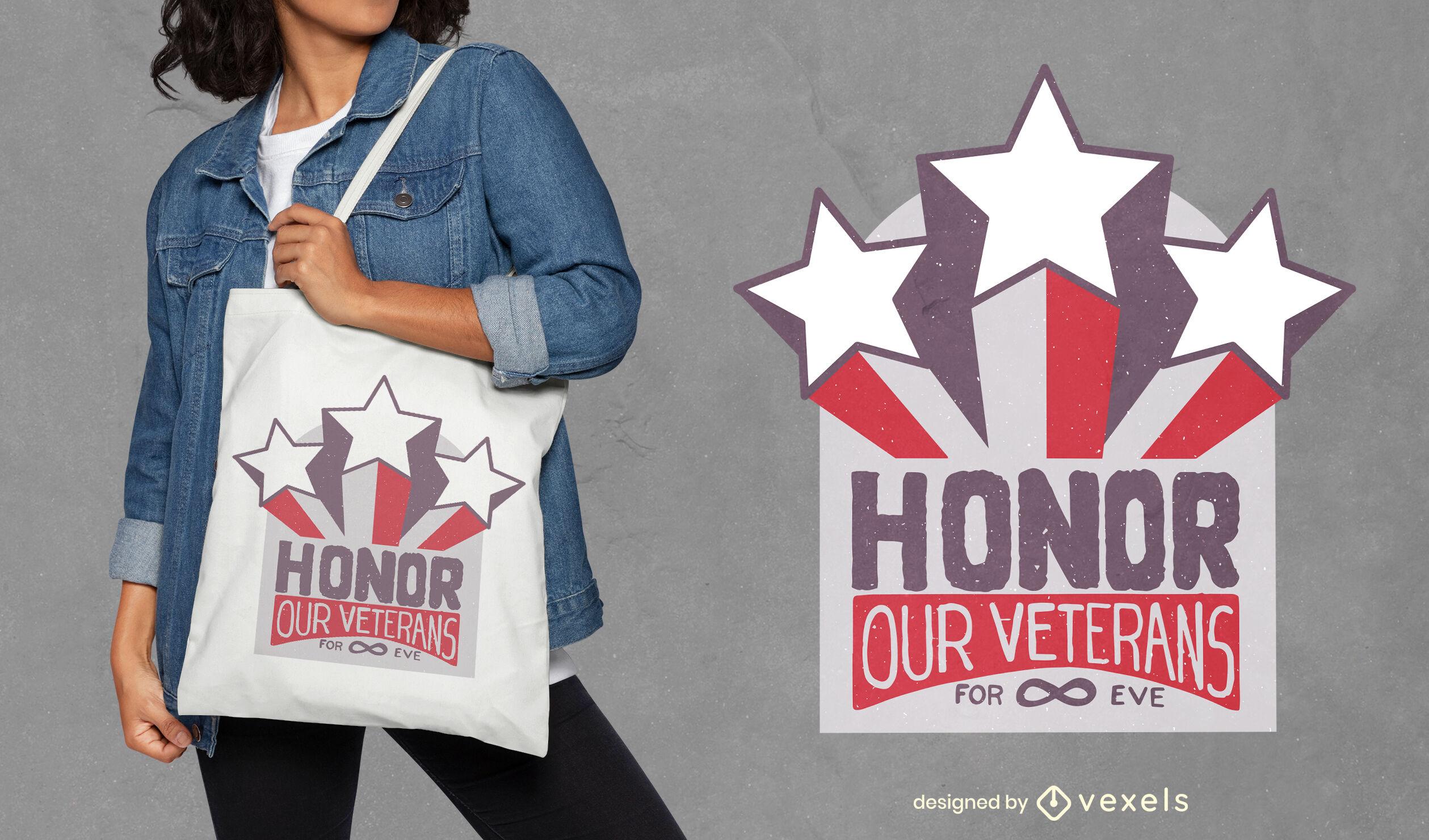 Design de sacola com crachá vintage para o dia dos veteranos