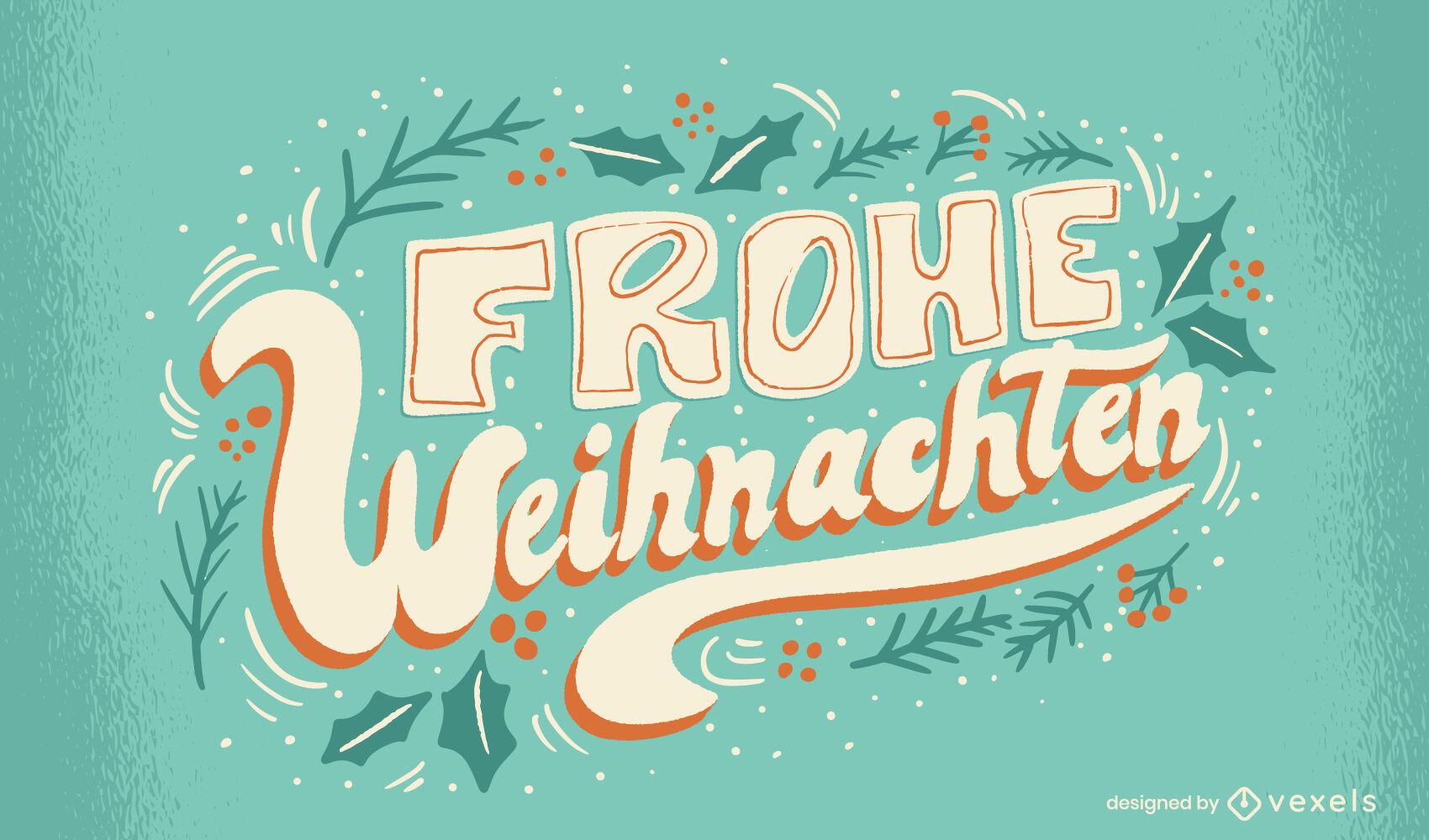 Diseño de letras de feliz navidad alemán