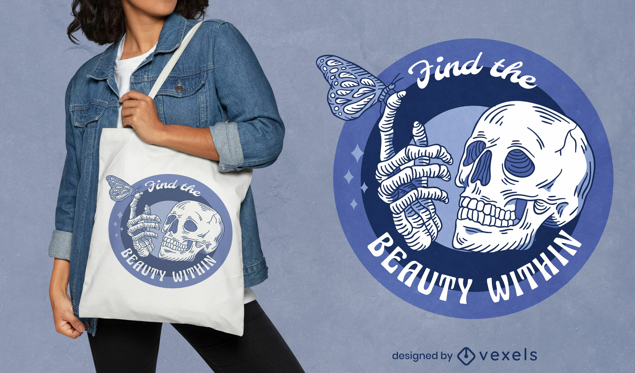 Skeleton with butterfly tote bag design