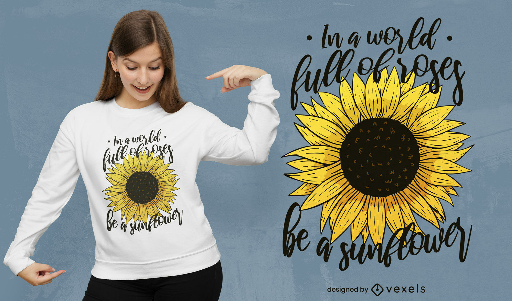 T-Shirt-Design mit Sonnenblumenrose-Zitat