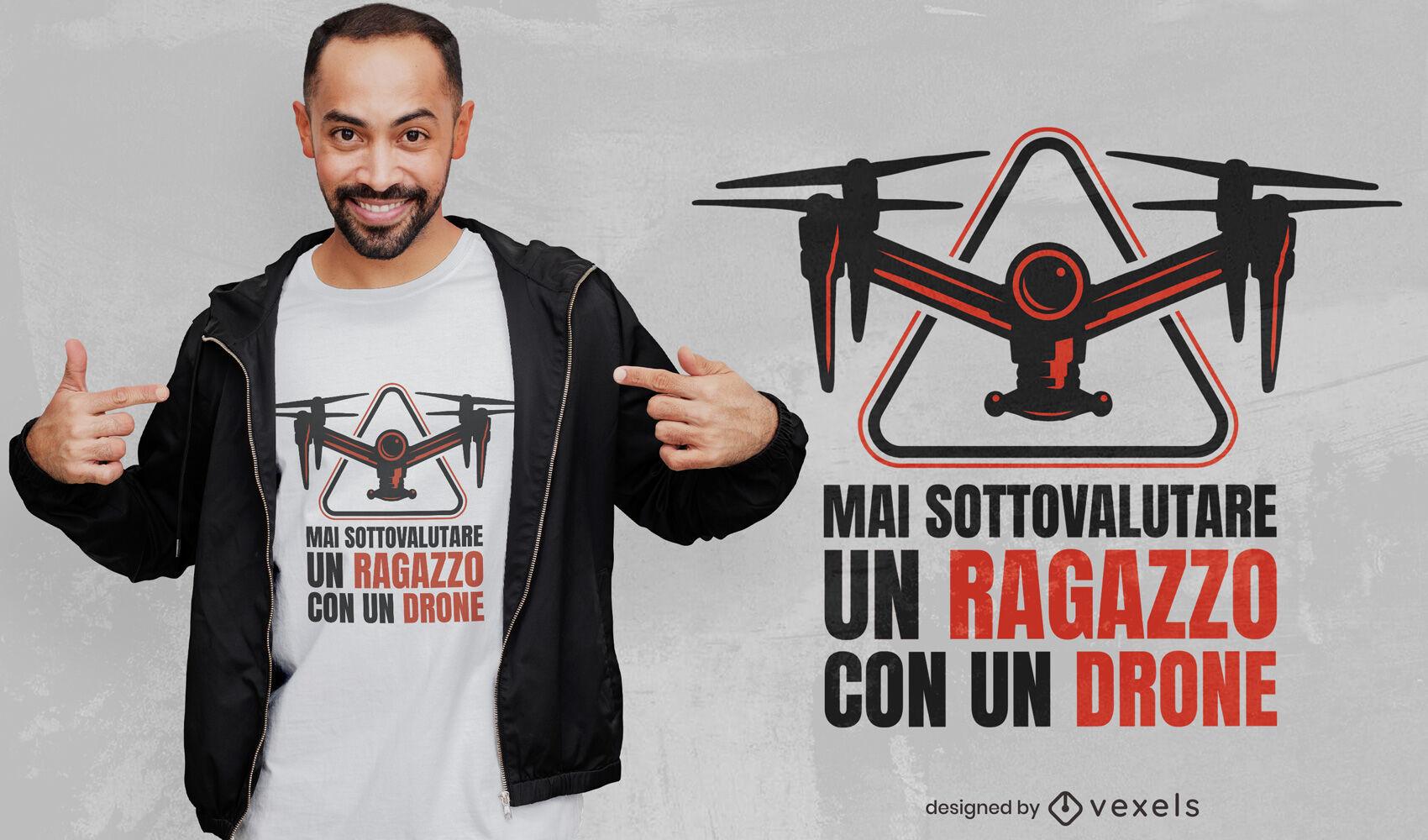 Kind mit italienischem Zitat-T-Shirt-Design mit Drohne