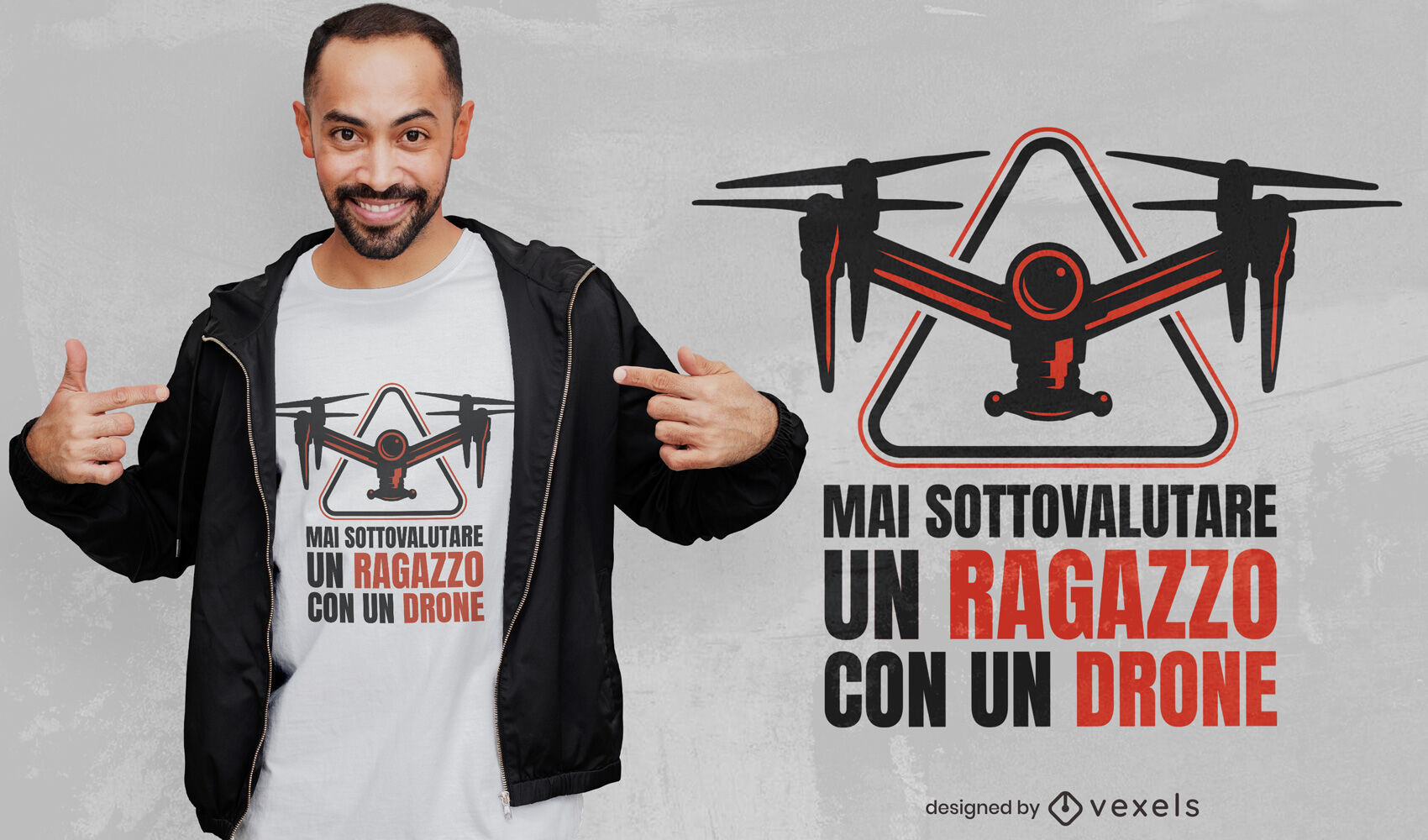 Niño con diseño de camiseta de cita italiana de drone