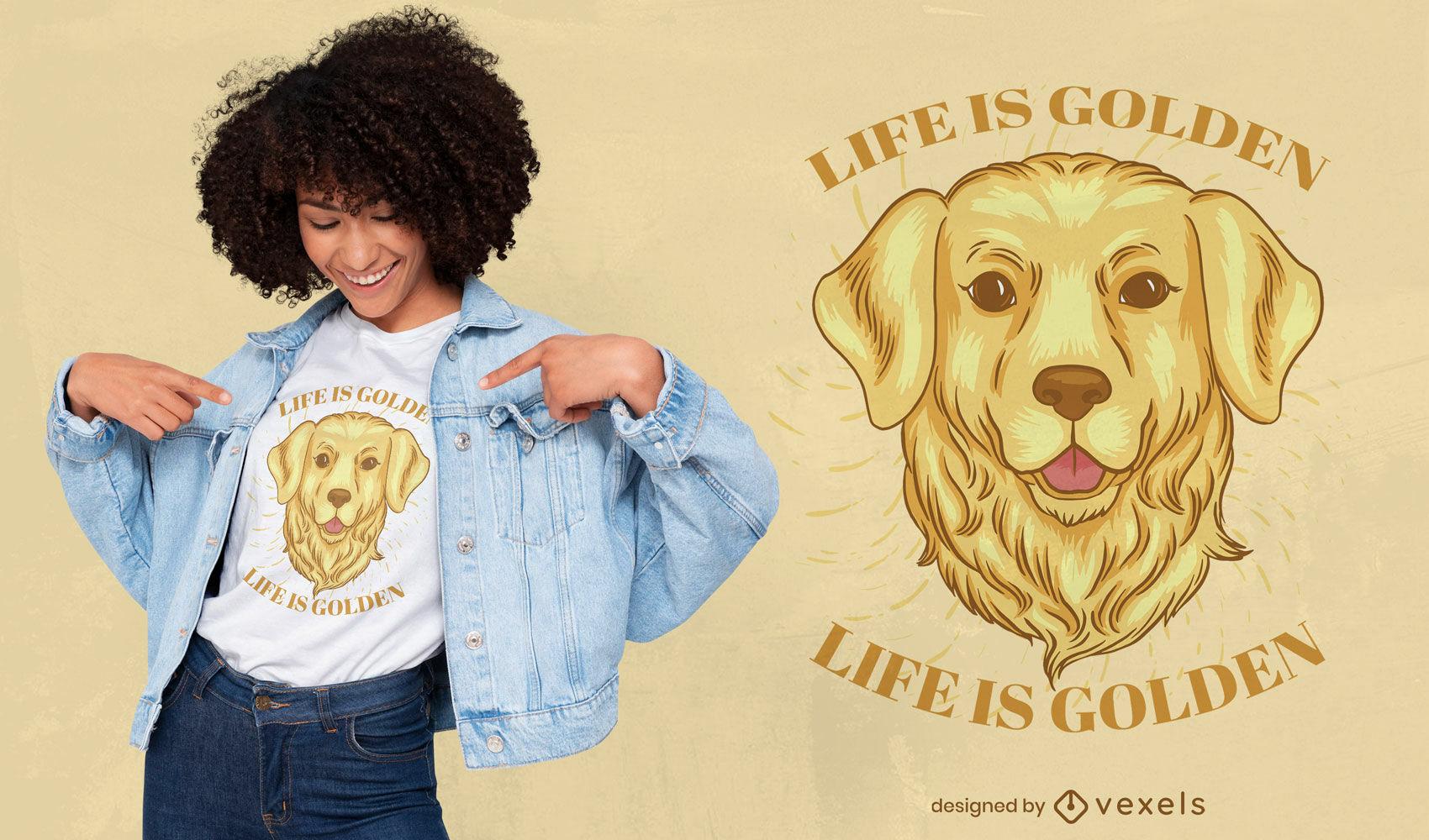 Design de camiseta com cara de cachorro golden retriever