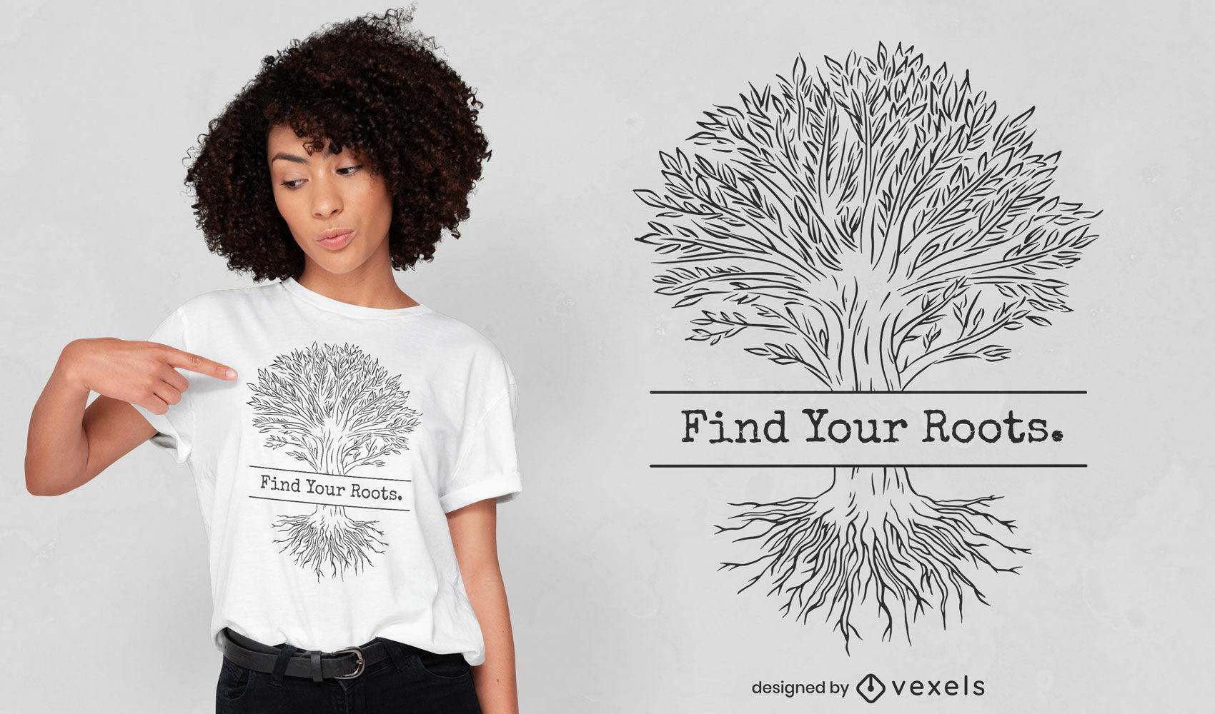 Desenho de t-shirt de linha de raízes de árvore