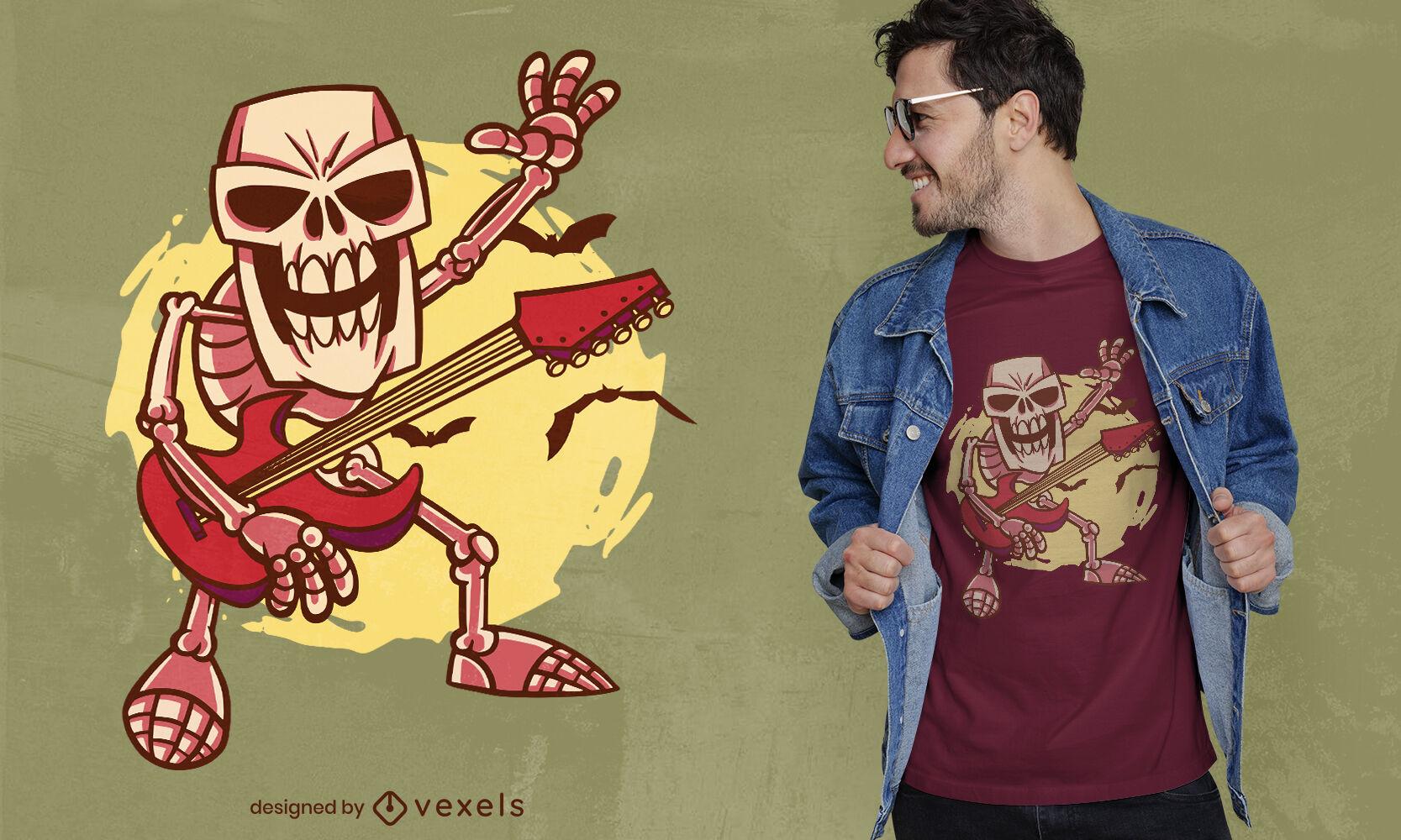 Dise?o de camiseta de dibujos animados de esqueleto de guitarra de rock