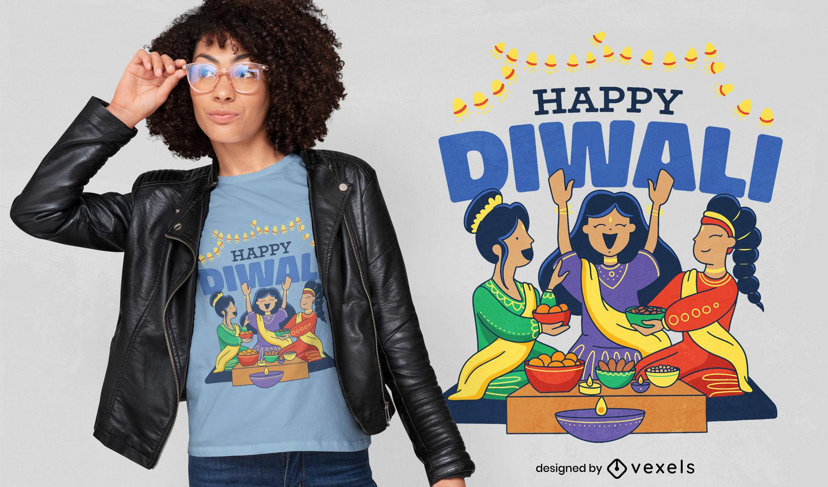 Diseño de camiseta de comida y gente feliz diwali