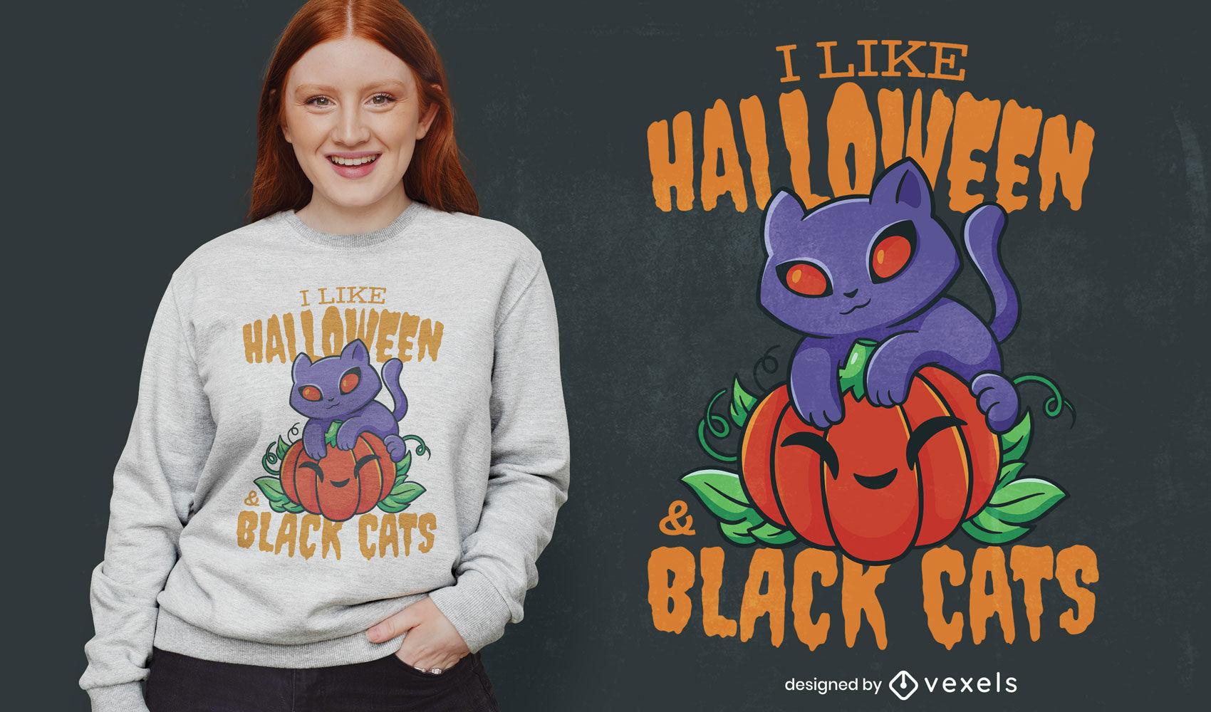 Design de camisetas de Halloween e gatos pretos