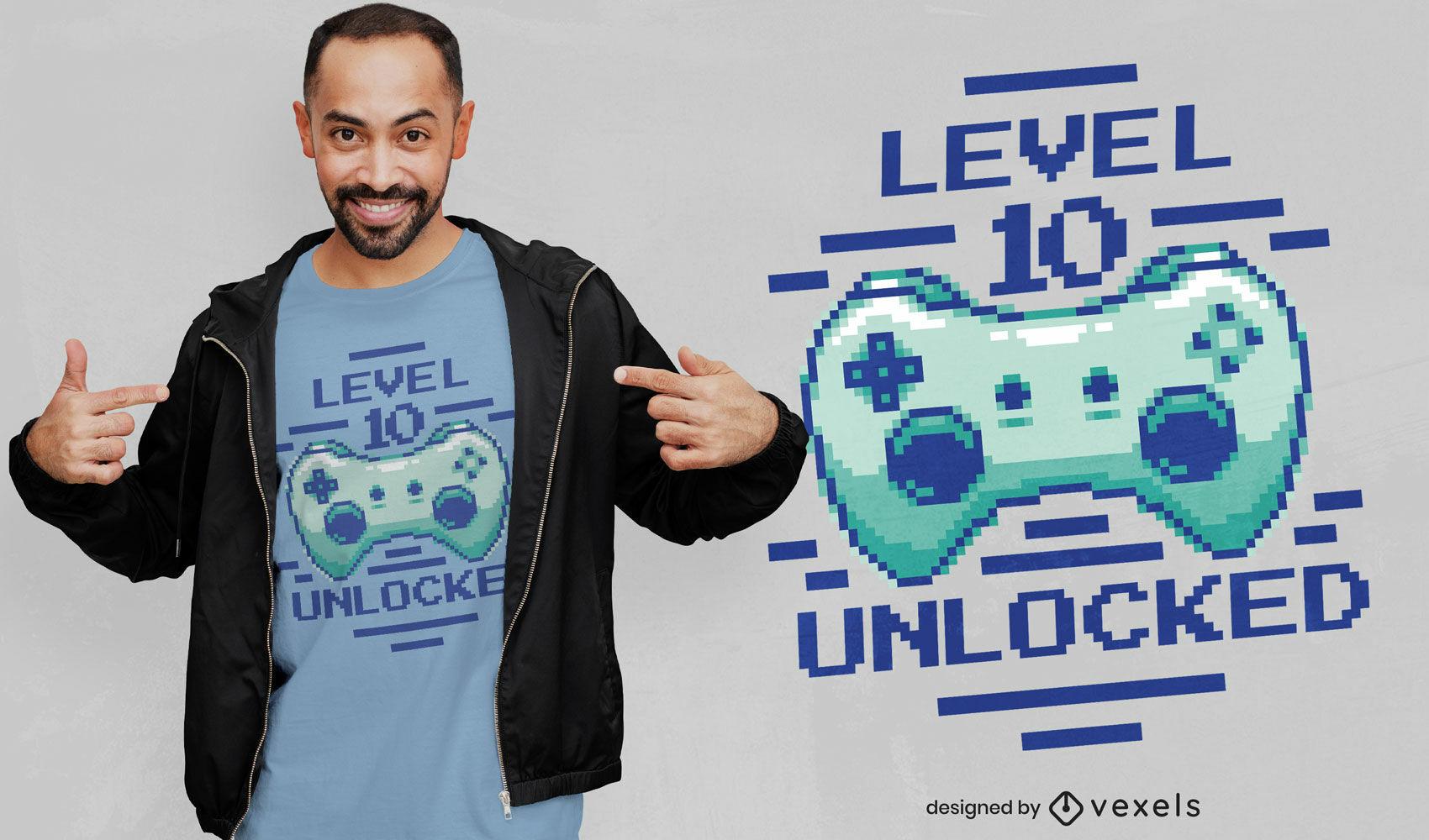 Design de camiseta de nível 10 de joystick