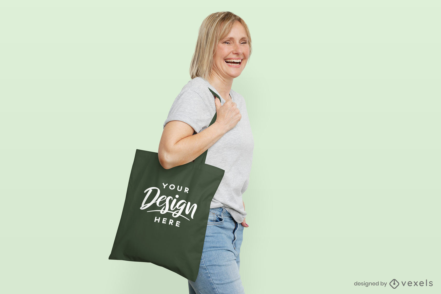 Woman tote bag mockup in flat background