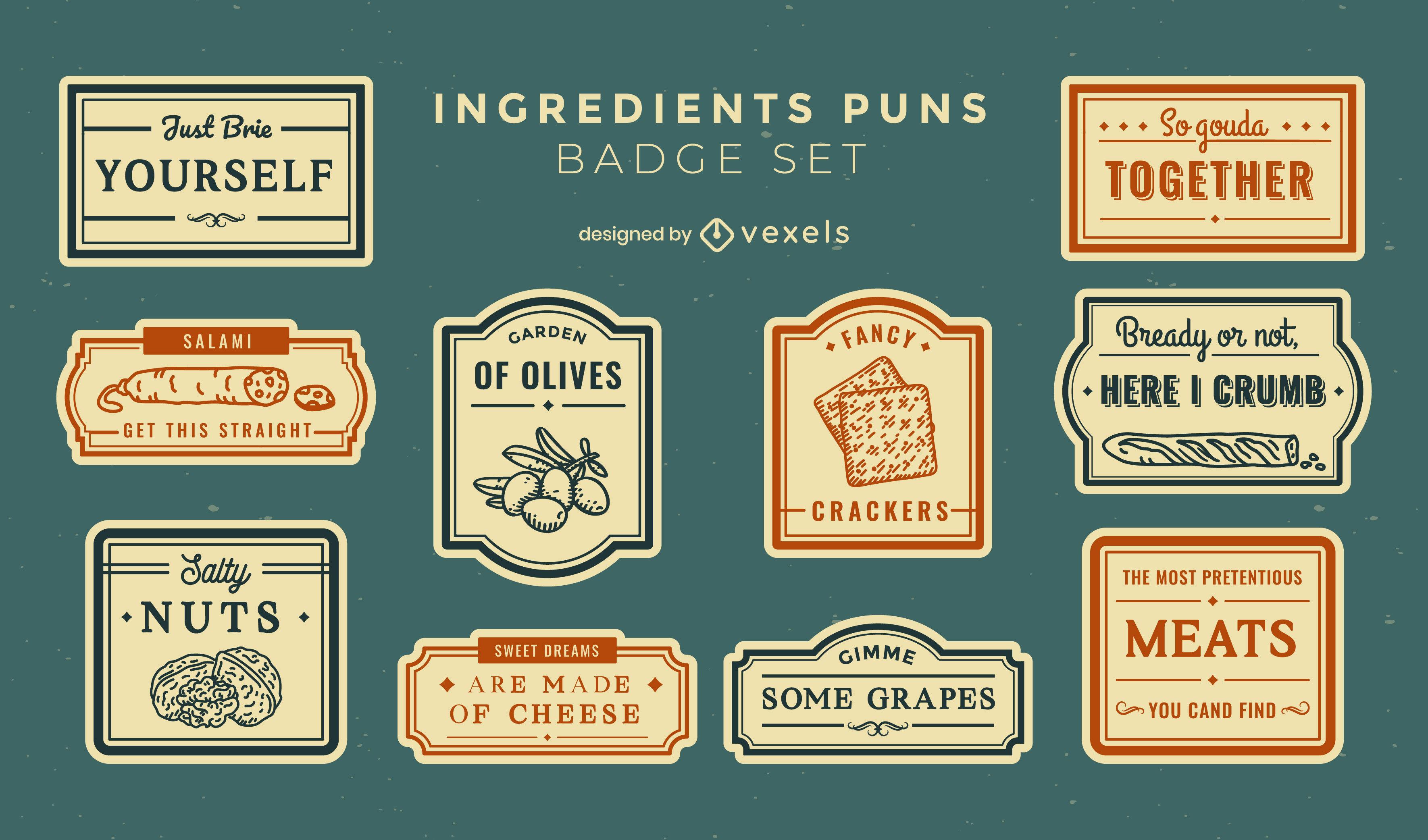 Food ingredients puns stroke badge set