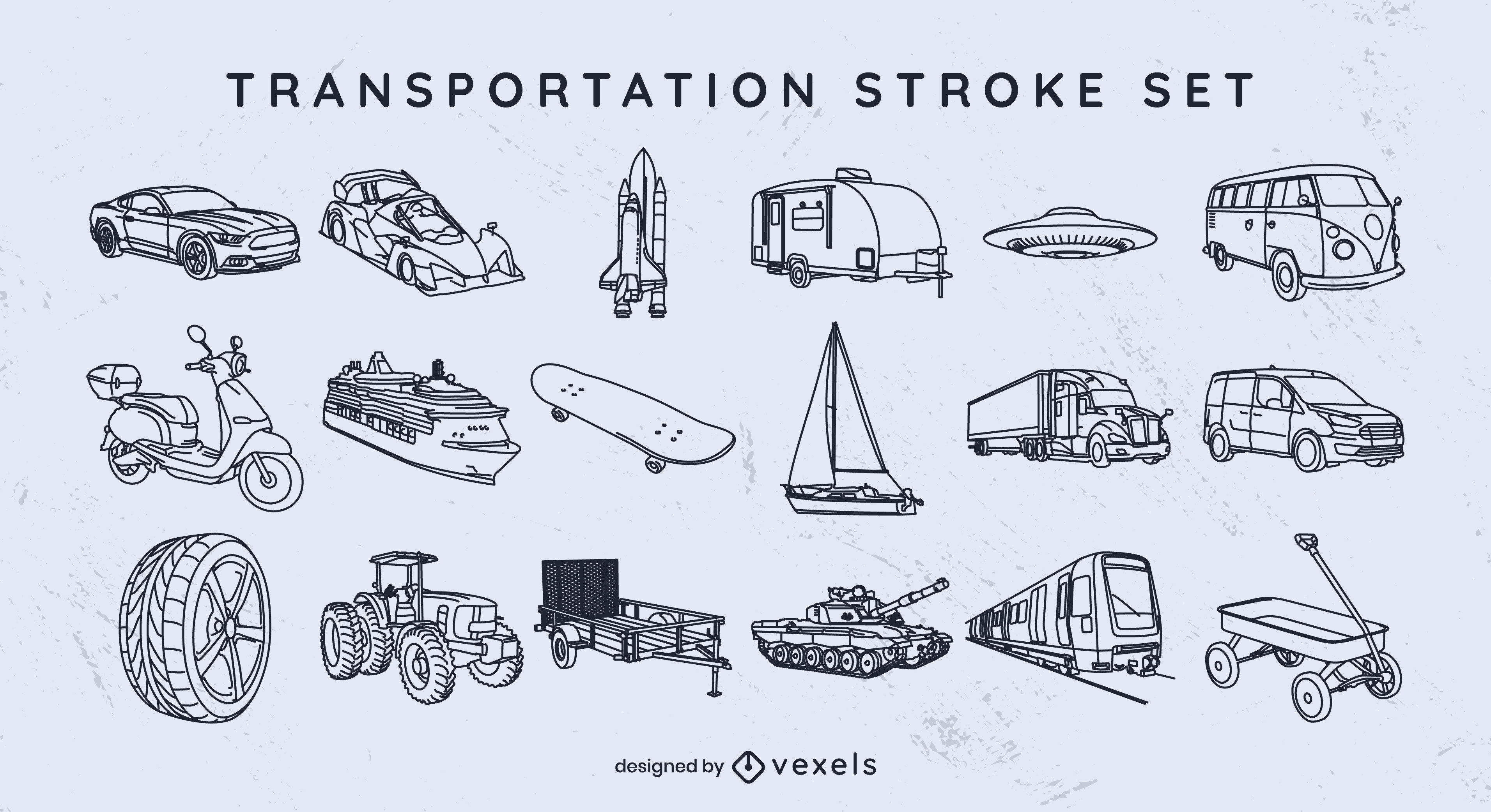 Conjunto de trazos de medios de transporte.
