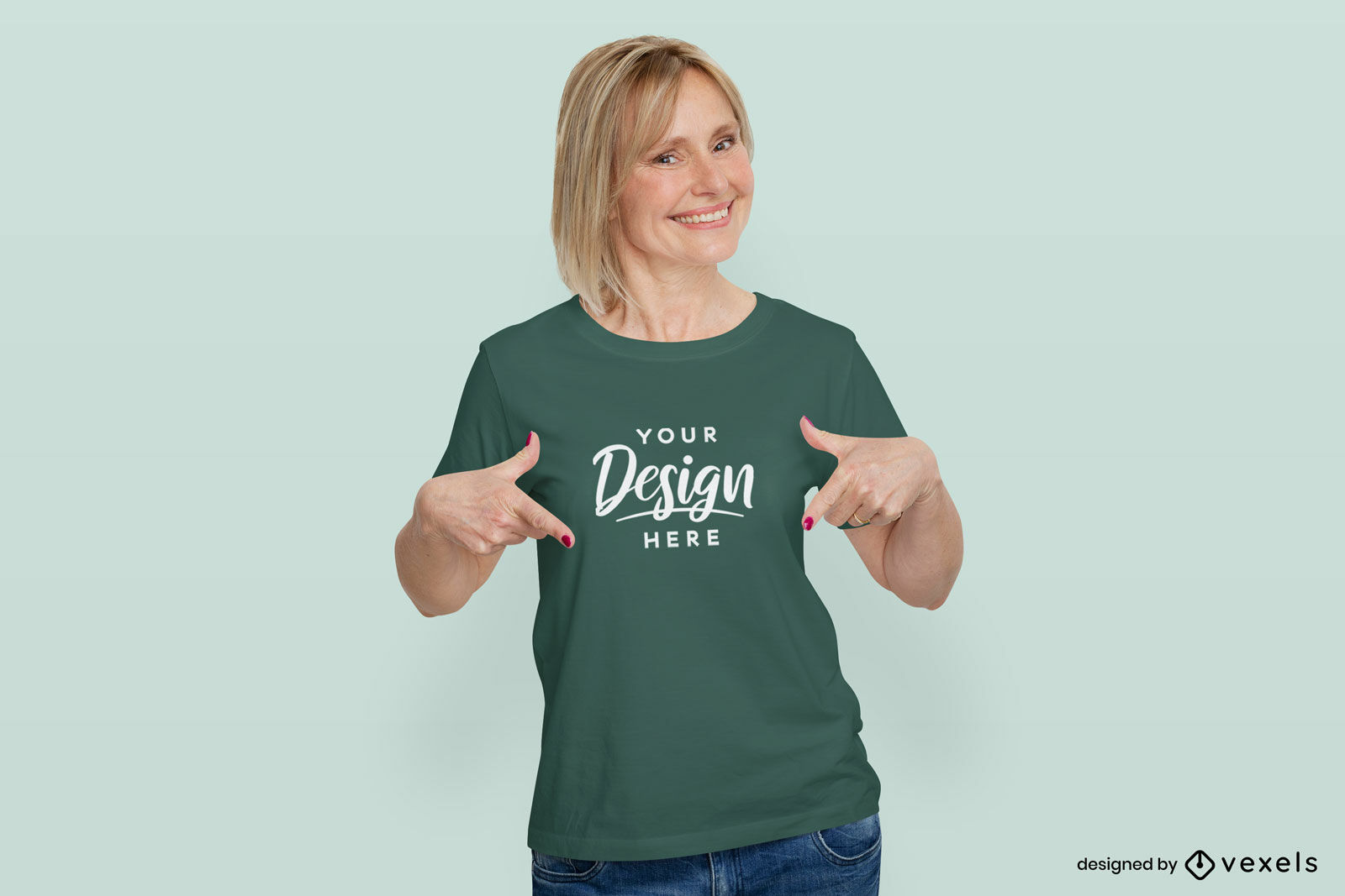 Woman in green t-shirt mockup in flat background