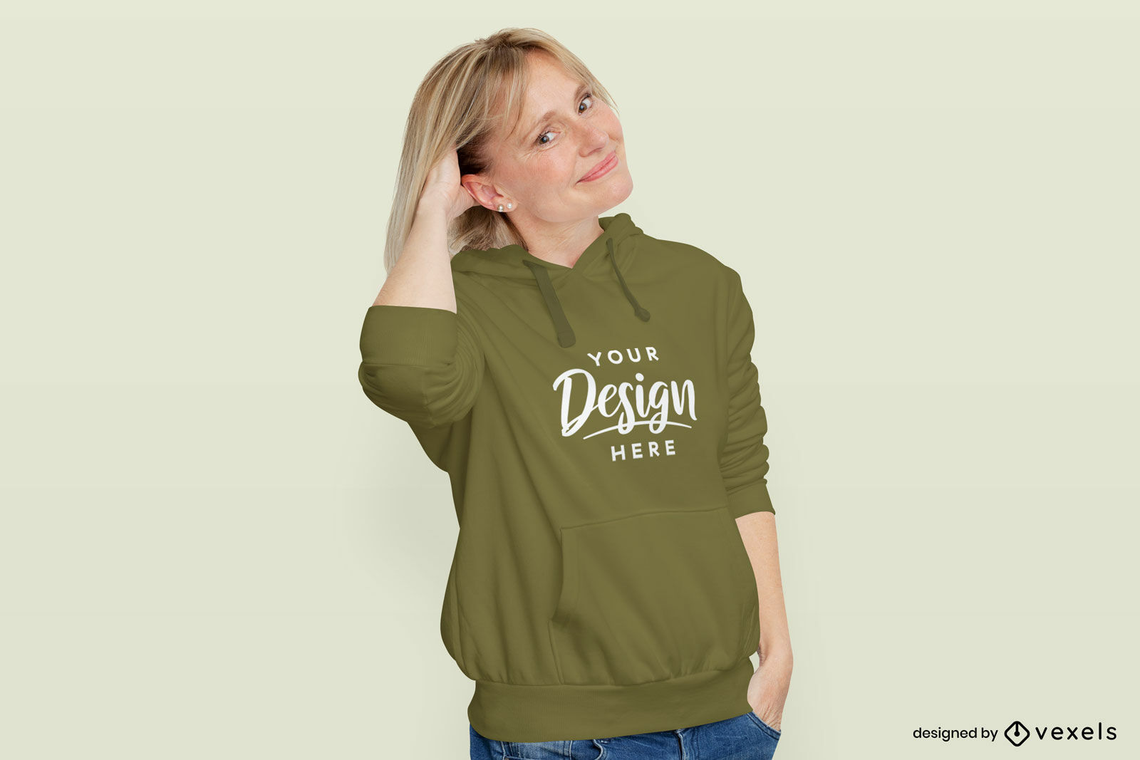 Woman in moss color hoodie in flat background mockup