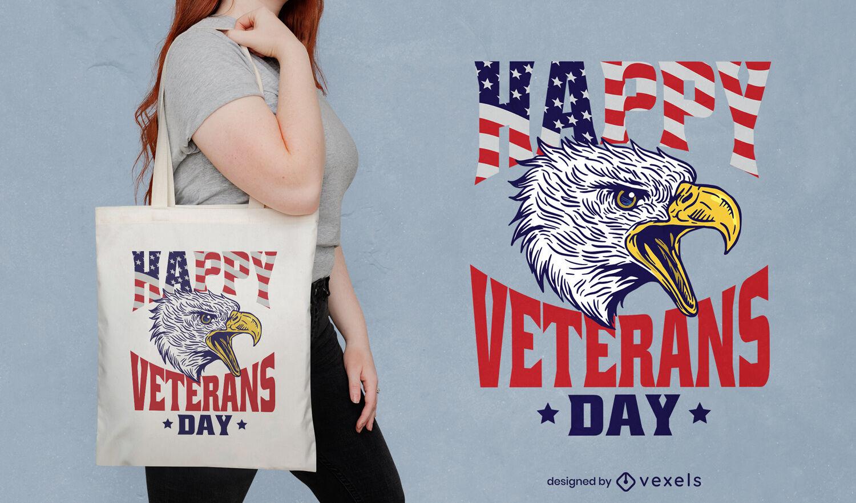 Veterans day eagle bird tote bag design