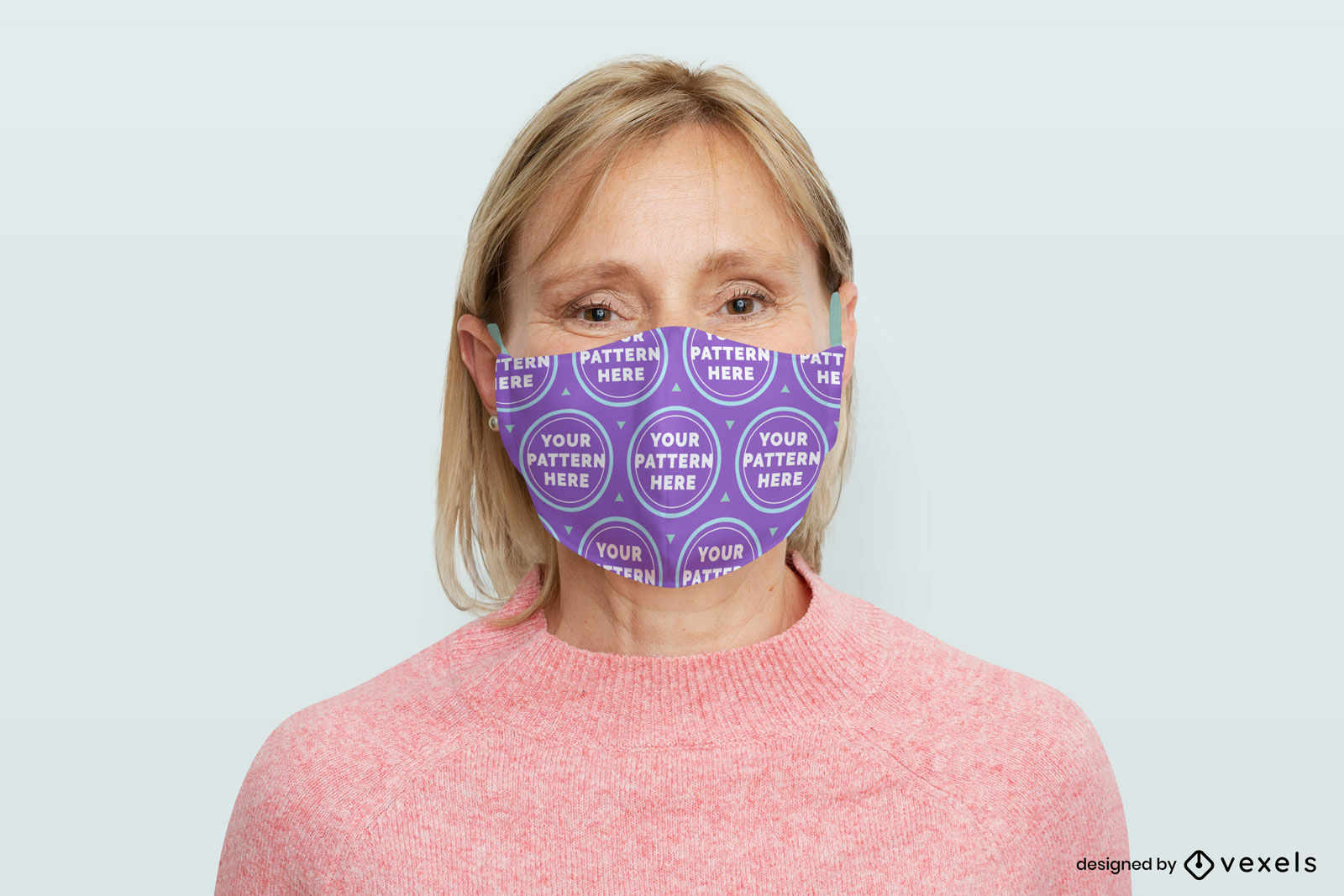 Woman face mask mockup in flat background