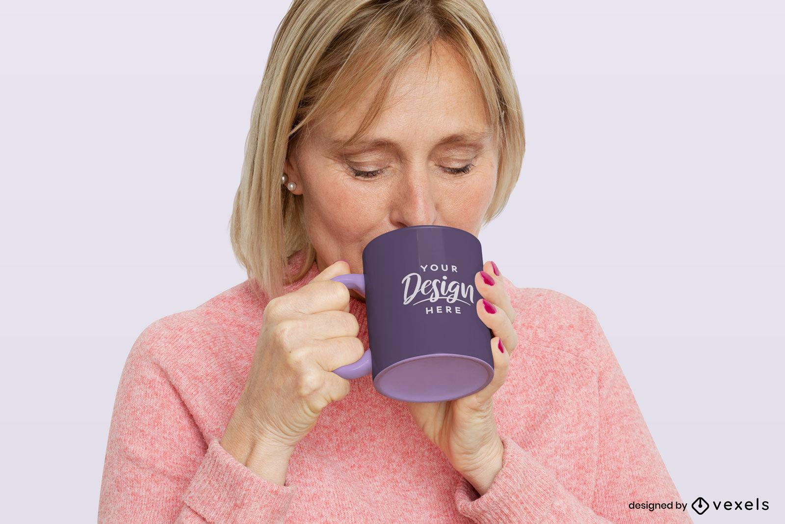 Woman with purple mug mockup flat background