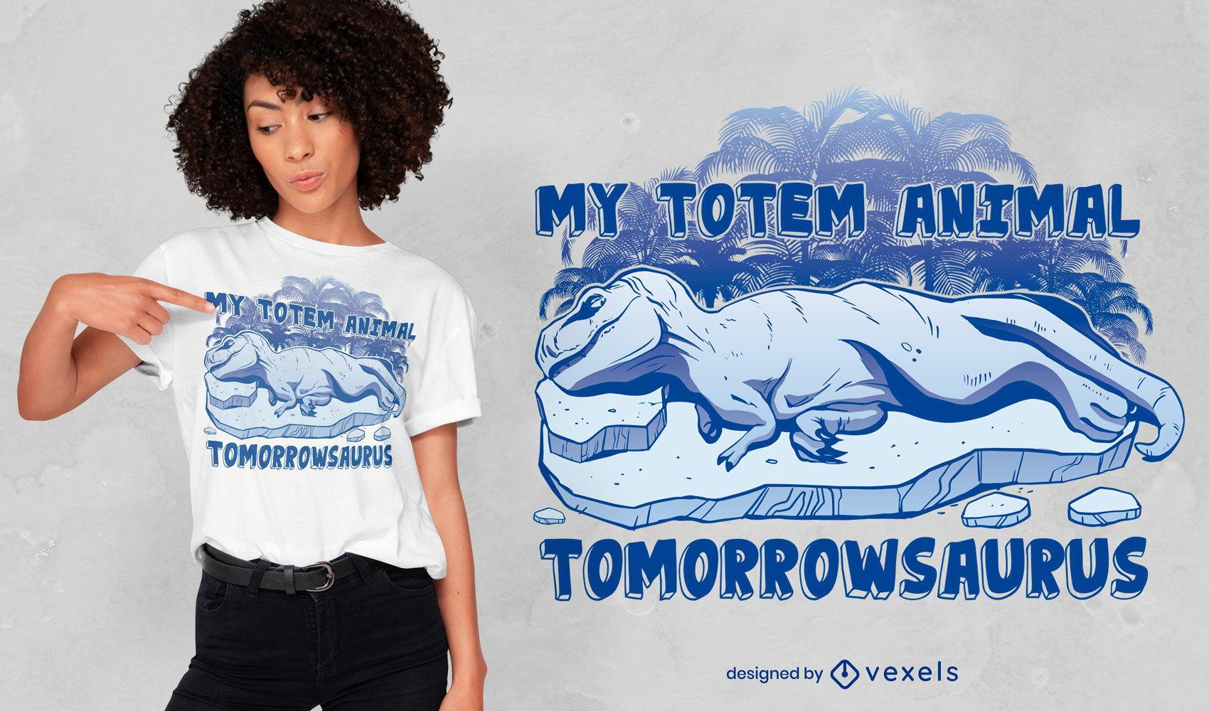 Diseño de camiseta de dinosaurio perezoso