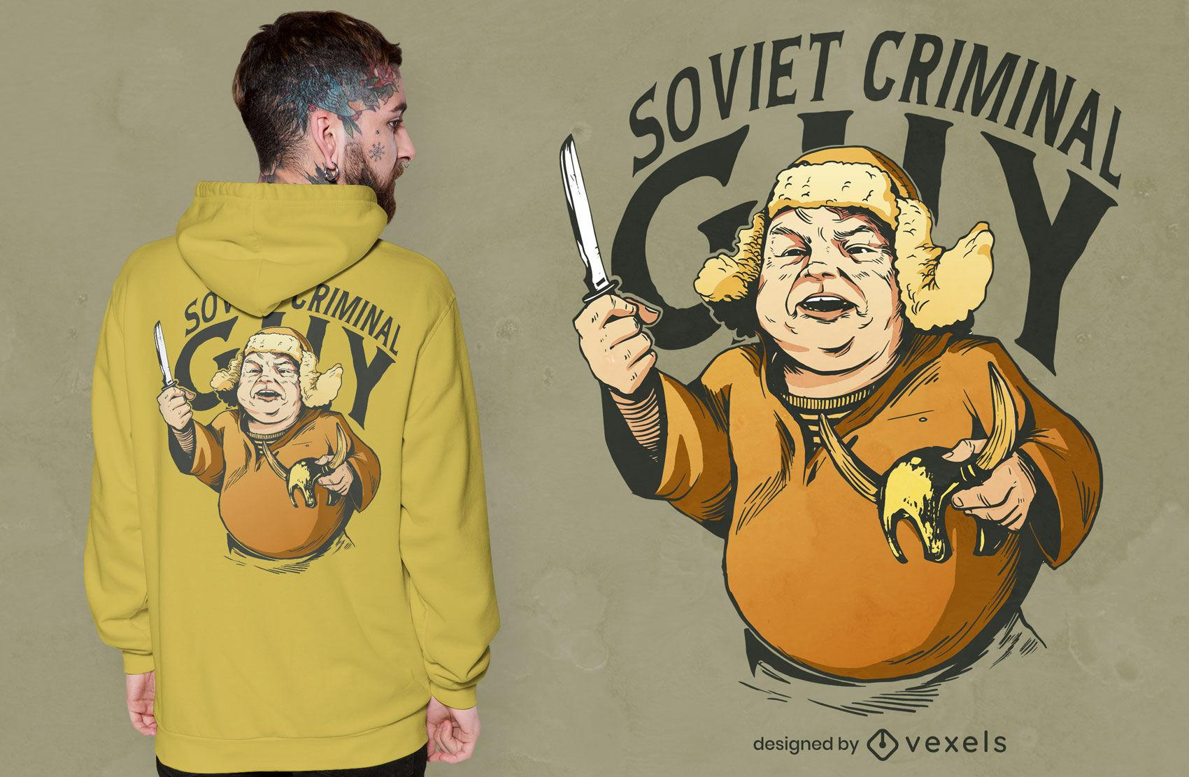 Sowjetischer Verbrecher mit Messer-T-Shirt-Design