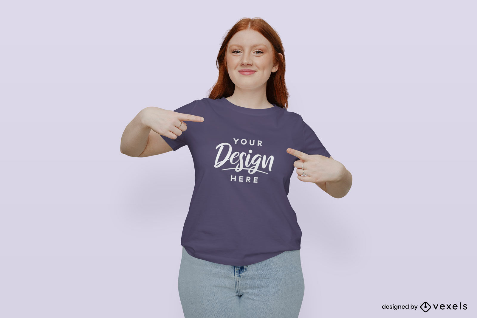 Girl with purple t-shirt mockup in flat background