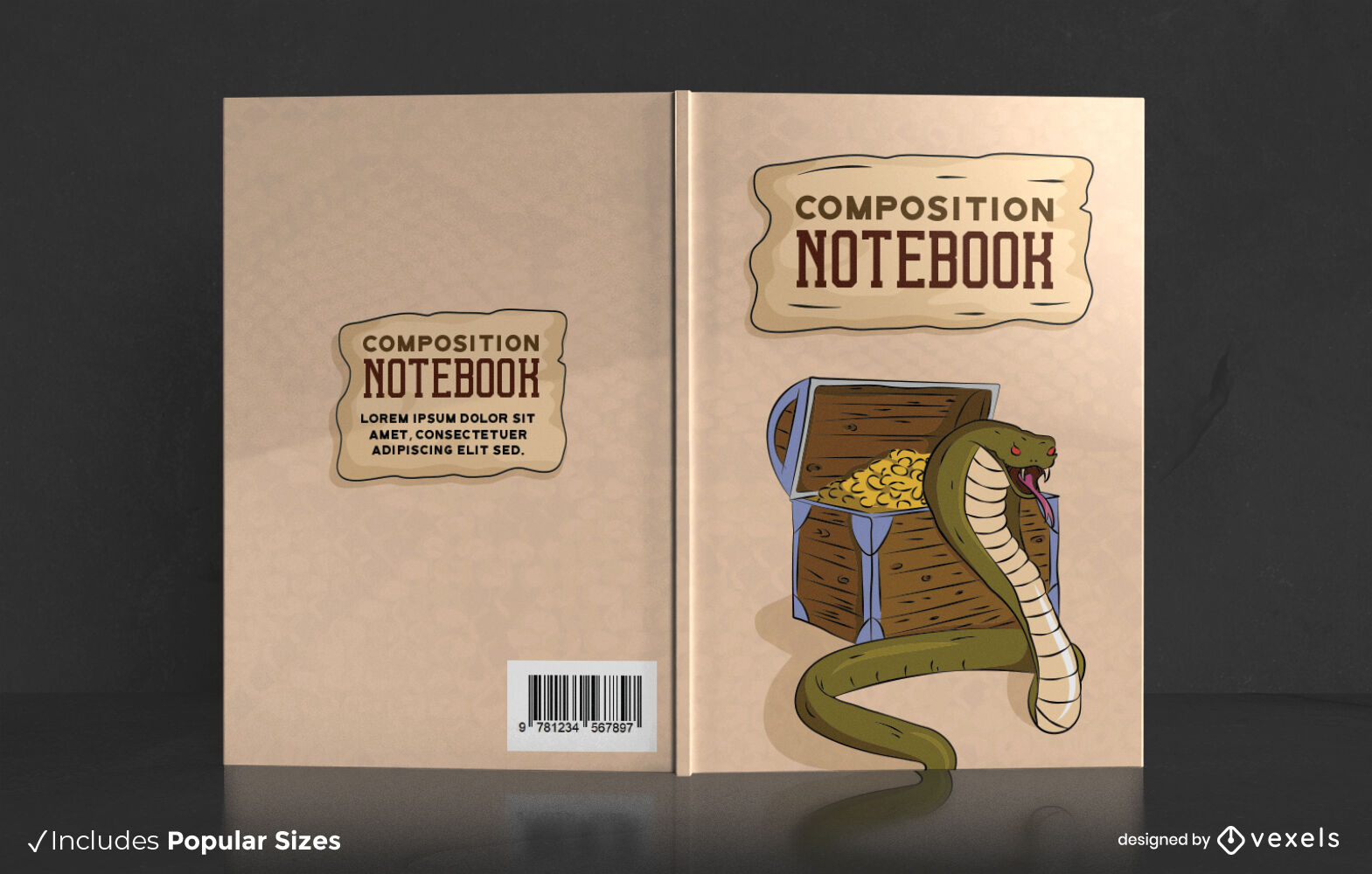 Snake animal with treasure book cover design