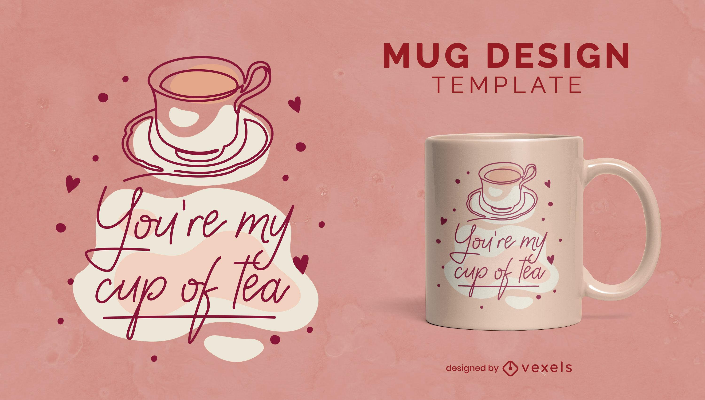 Cute tea cup romantic mug template