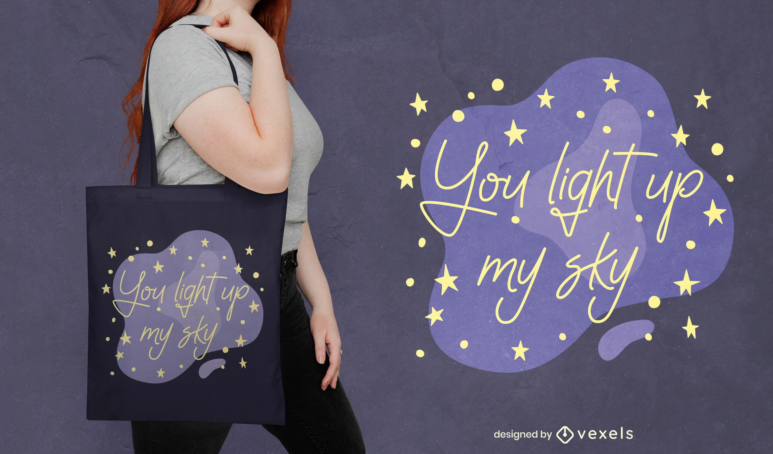 Design de bolsa romântica com letras do céu noturno