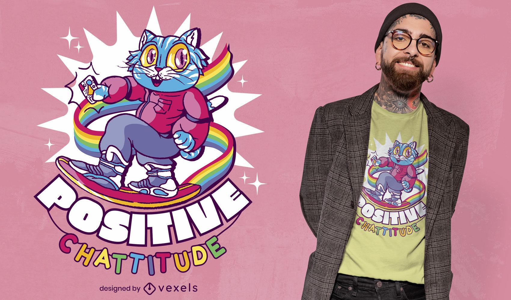Gato arcoiris en dise?o de camiseta hoverboard