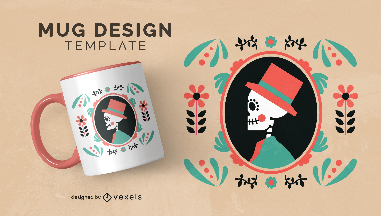 Day of the dead skeleton portrait mug design