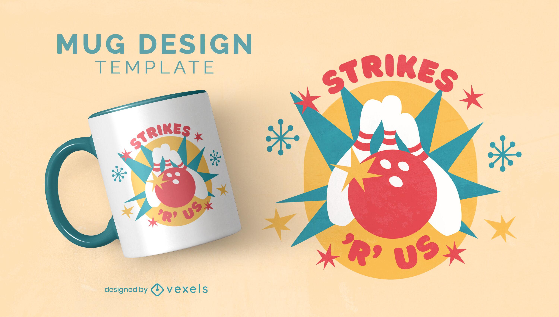 Bowling ball and pins retro mug design