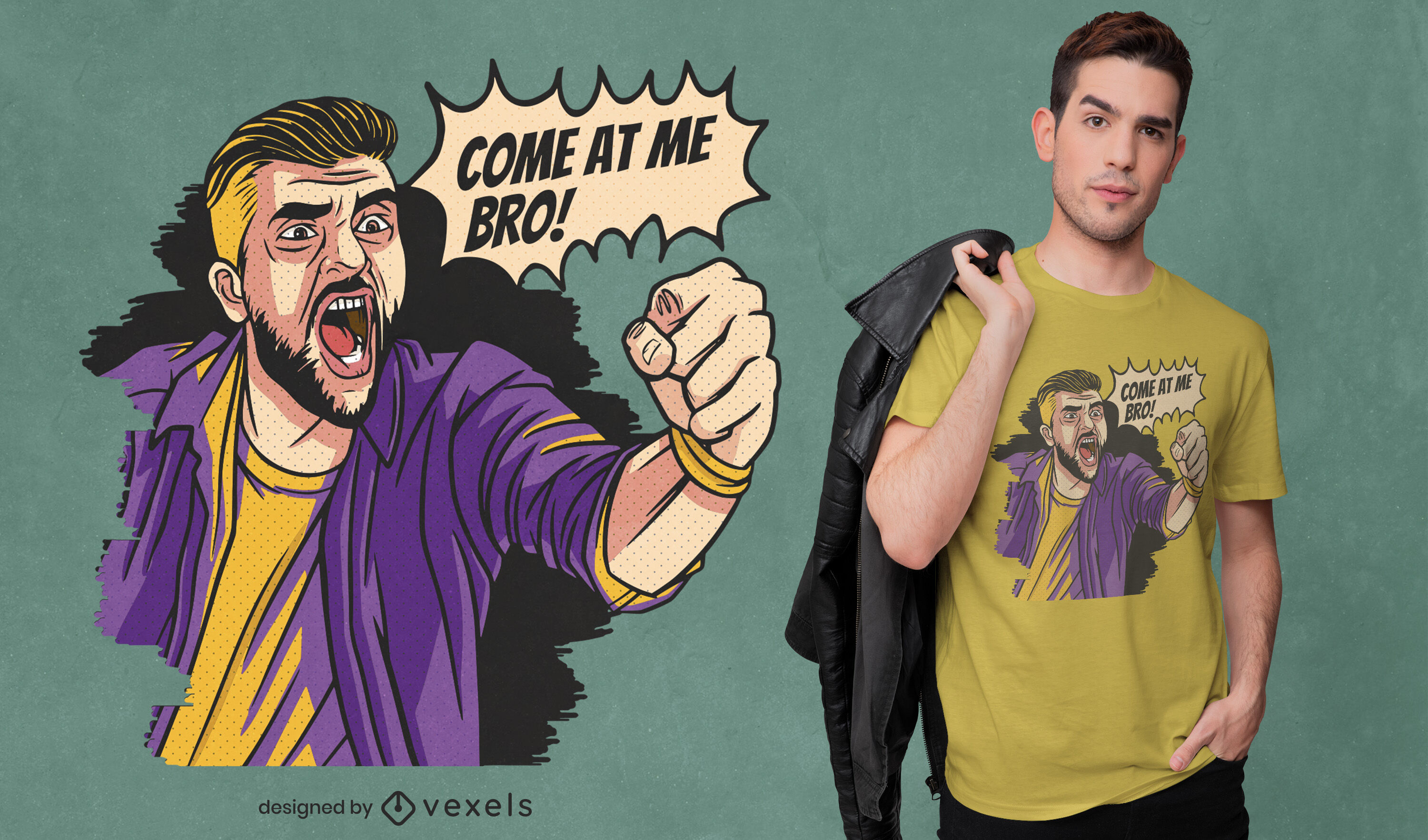 Angry man comic fight t-shirt design