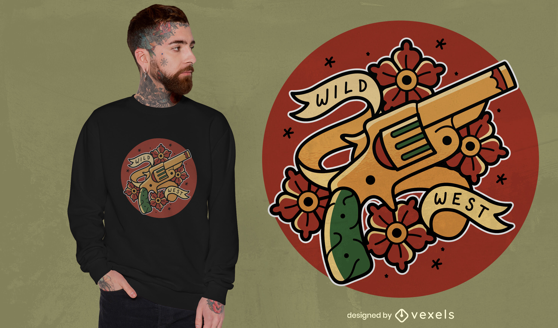 Diseño de camiseta de tatuaje de pistola vieja y flores.