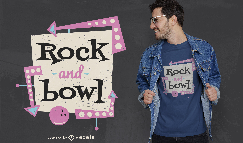 Diseño de camiseta retro de signo de bola de bolos