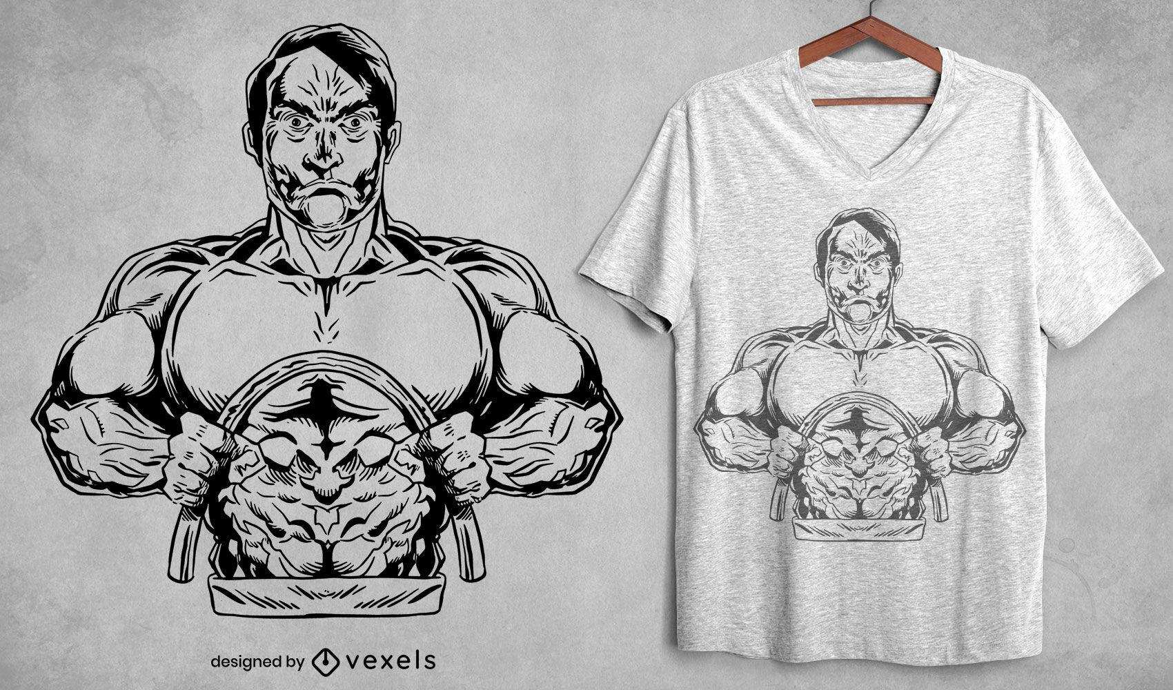 Design de camiseta para homem forte e musculoso