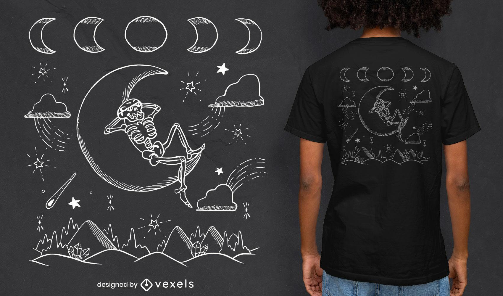 Esqueleto en diseño de camiseta de luna y montañas.