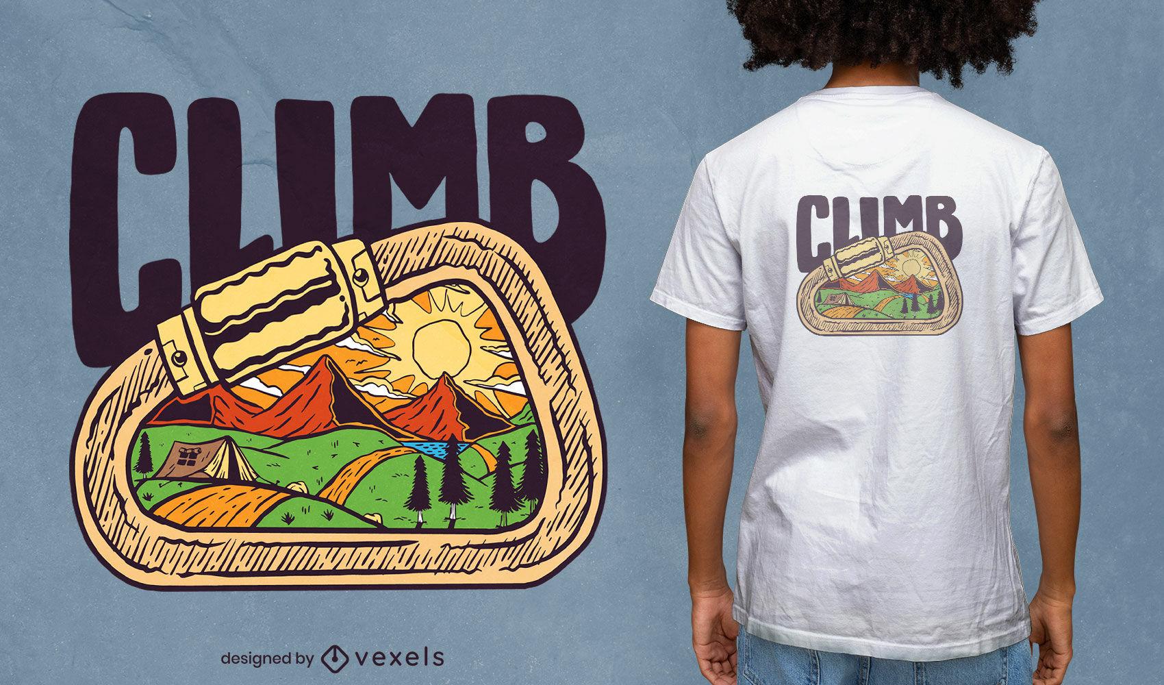 Desenho de camiseta com mosquetão de escalada e paisagem