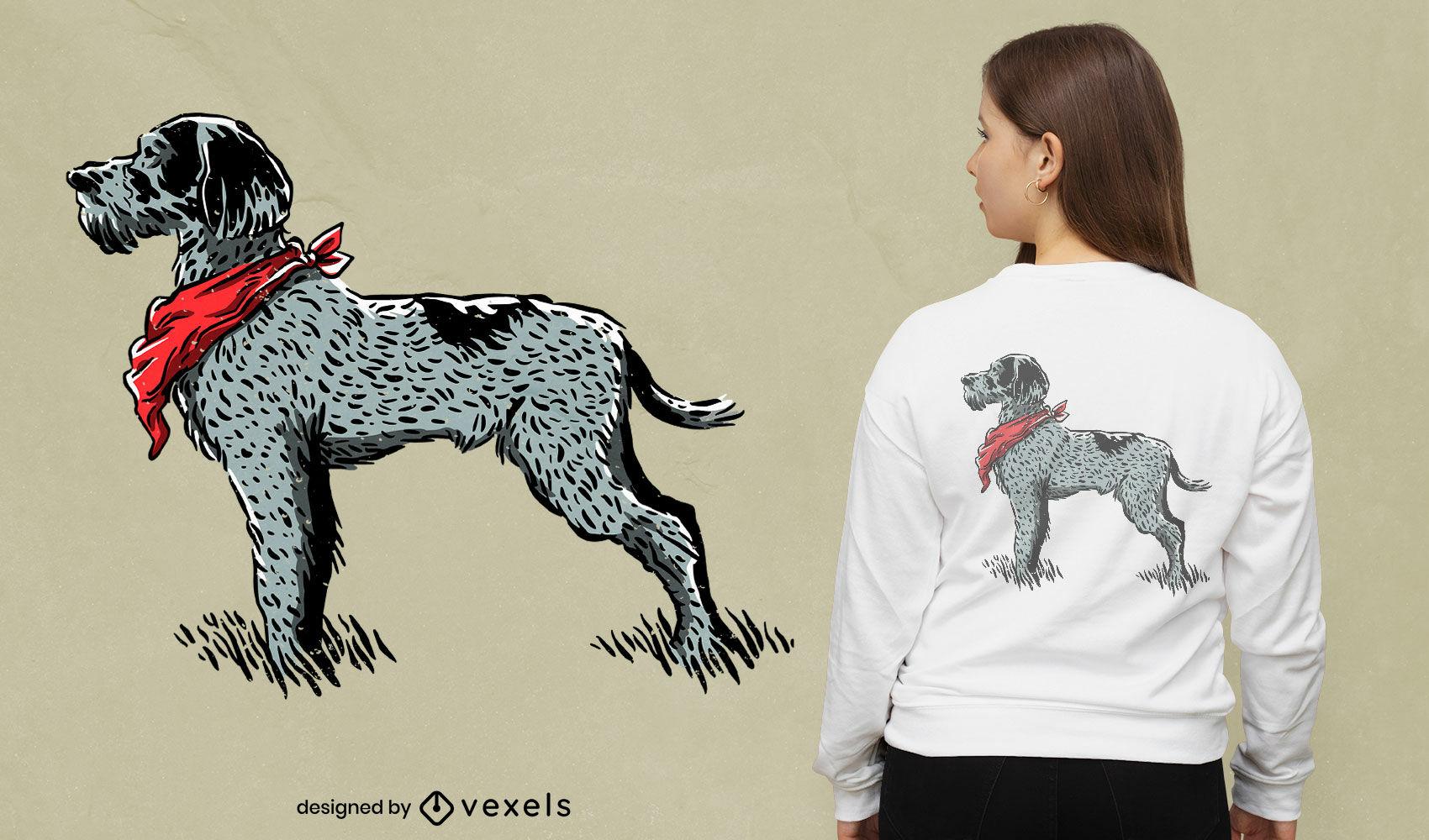 Design de camiseta cão ponteiro alemão