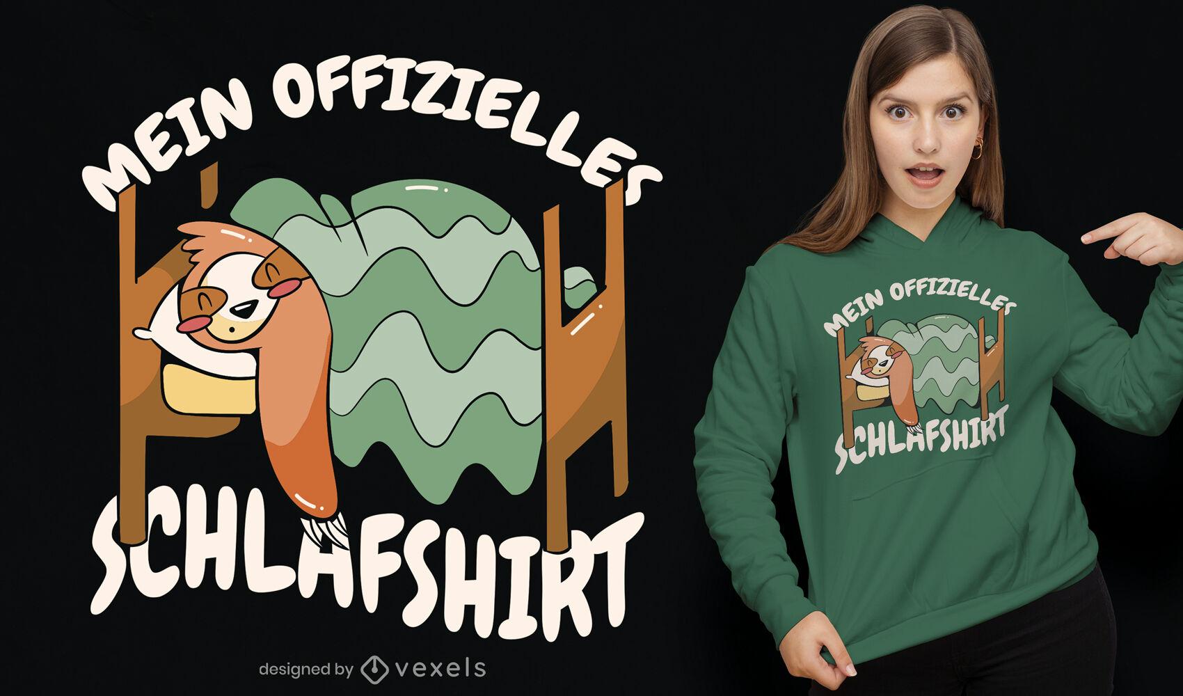 Design de camiseta alem? para pregui?a dormindo
