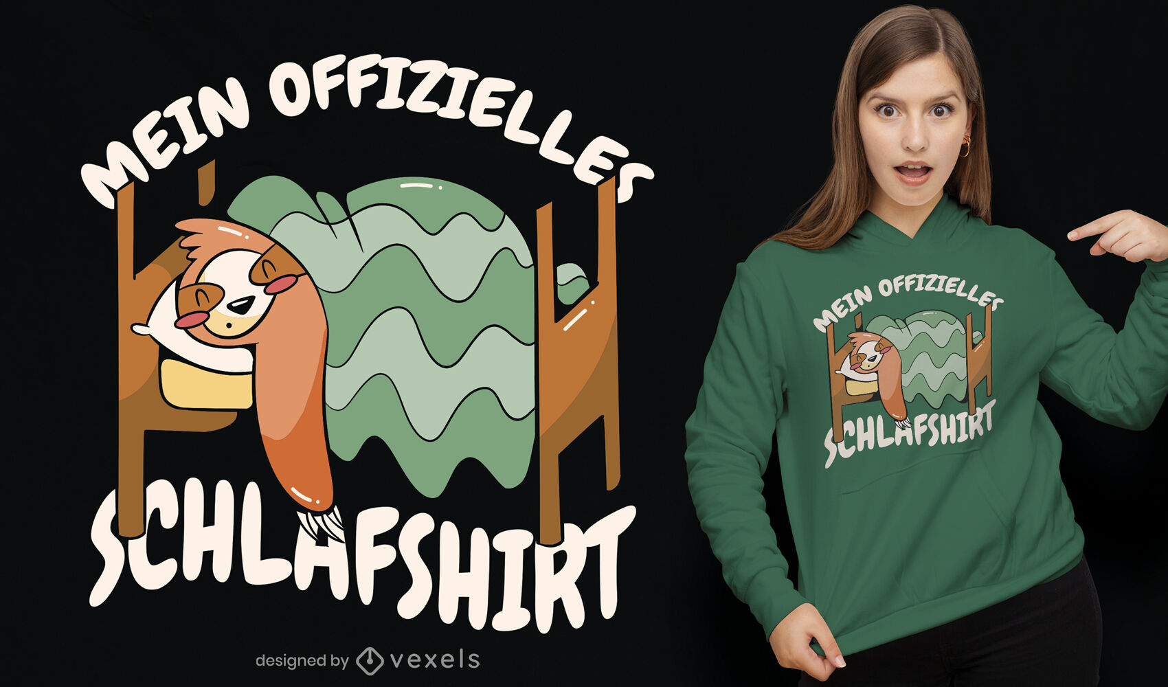 Sleeping sloth german t-shirt design